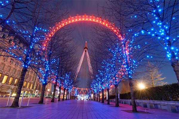 London Eye iluminado en rojo