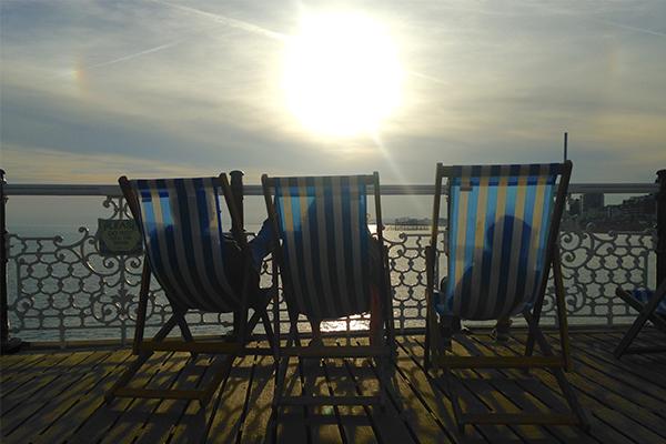 Tumbonas en el Brighton Pier