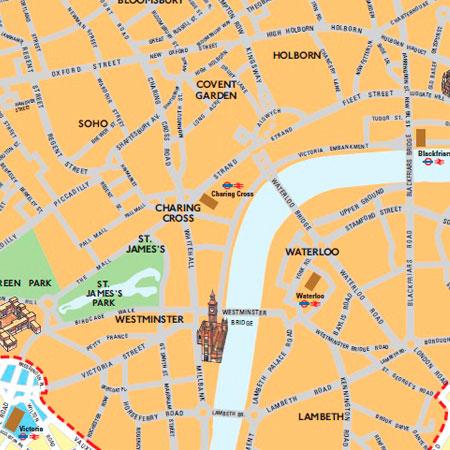 Mapa de la zona de peaje de Londres
