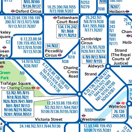 Mapa de los autobuses nocturnos de Londres